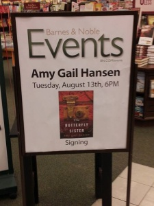 Sign for Amy G. Hansen book event (image courtesy of Amy G. Hansen)